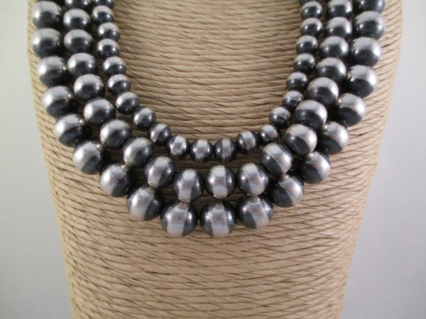 Oxidized Sterling Silver Bead Necklace 3-strands