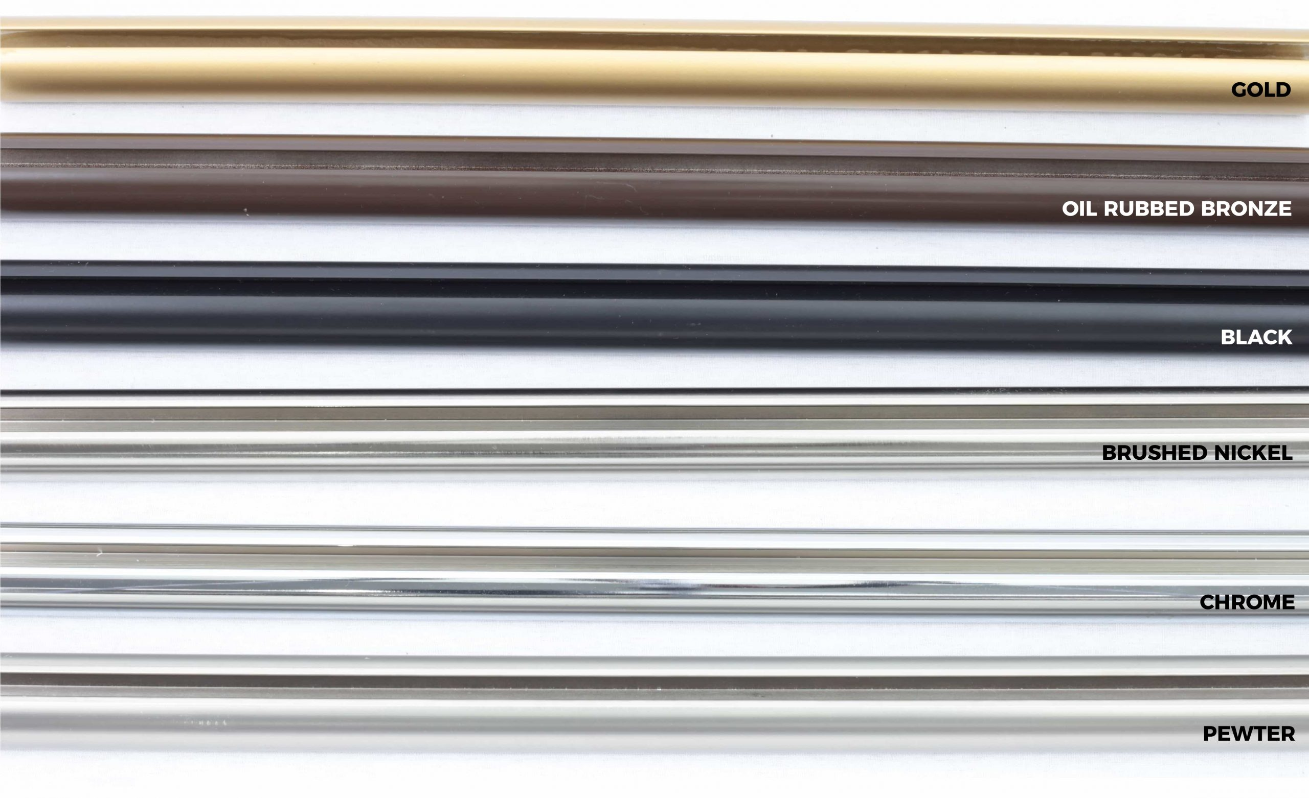 Photo of available channel rods and channel rod colors.