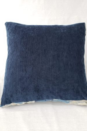 Blue velvet box cushion with silk borders