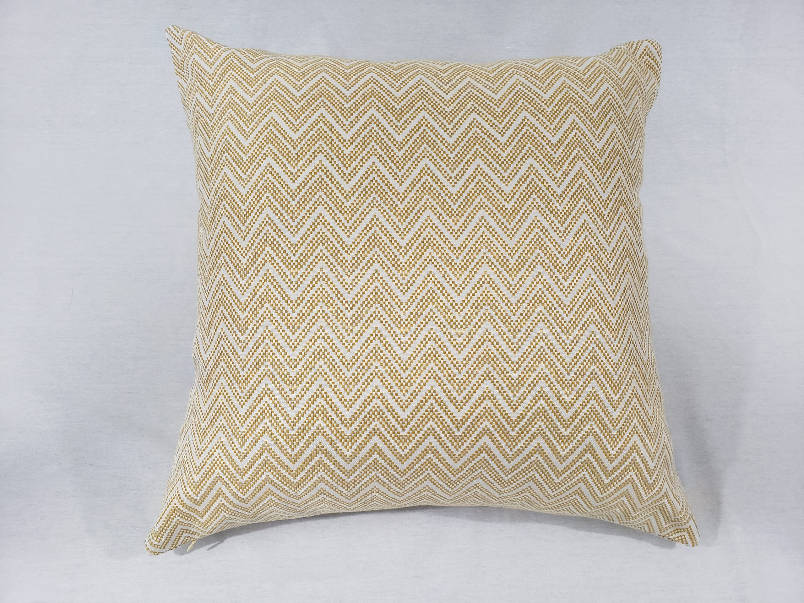 Yellow Chevron cushion made with upholstery grade fabric
