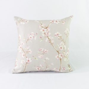 Contemporary Pink Floral With Light Grey Velvet Back - 19x19 - Qty2 - 1of2