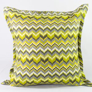 Modern Green Chevron Euro With Grey Linen Back - 25x25 - Qty2 - 1of2