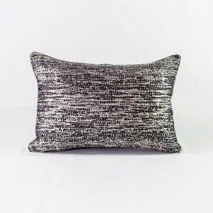 Navy & Silver Abstract Cushion With Black Back - 14x20 - Qty2 - 1of2