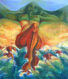 Някъде - живопис с маслени бои върху фазер