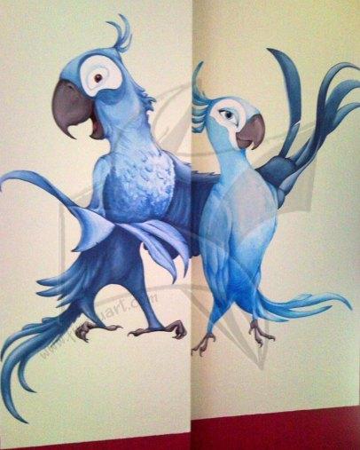 Папагалите от Рио - рисунка върху стена