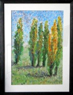 Пейзаж живопис - картина с темперни бои на име Тополи