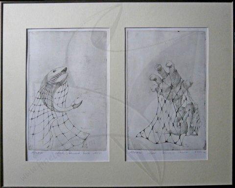 Мрежи - диптих, офорт от Любомира Попова Fineluart