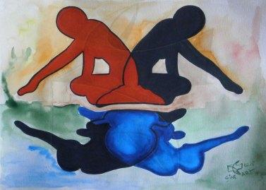 Силуети 4 - Отражения, рисунка с акварел