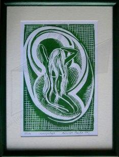 Жена - линогравюра в зелено
