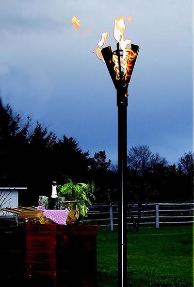 Fin Style Natural Gas Tiki Torches Permanent Mount  Fines Gas