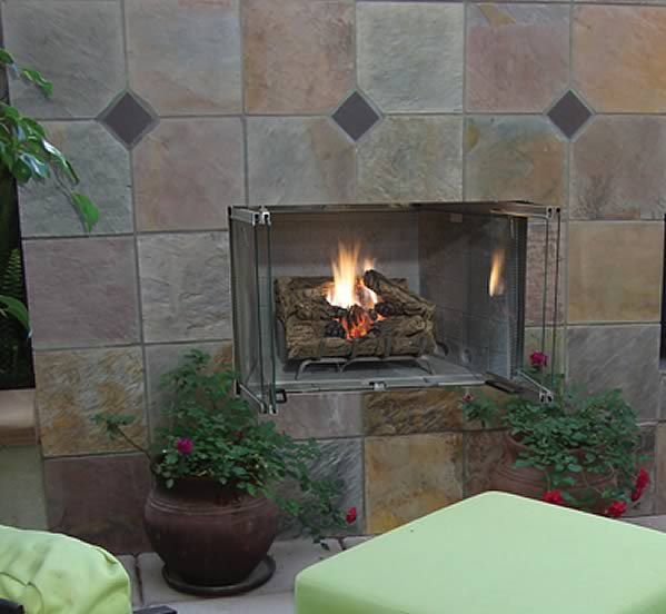 Superior 36 Inch Stainless Steel Outdoor Fireplace  Fines Gas