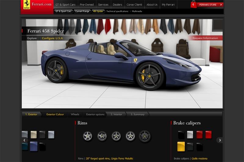 Ferrari 458 Spider Onlinekonfigurator - Konfigurieren Sie Ihren nächsten Ferrari gleich online
