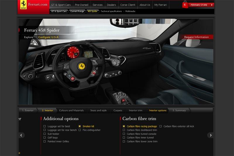 Ferrari 458 Spider Onlinekonfigurator - Interieur