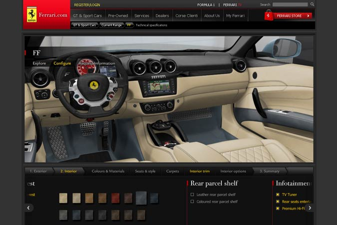 Ferrari FF Konfigurator Interieur