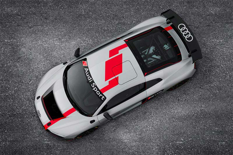 Der Audi R8 LMS GT4 Rennwagen aus der Vogelperspektive