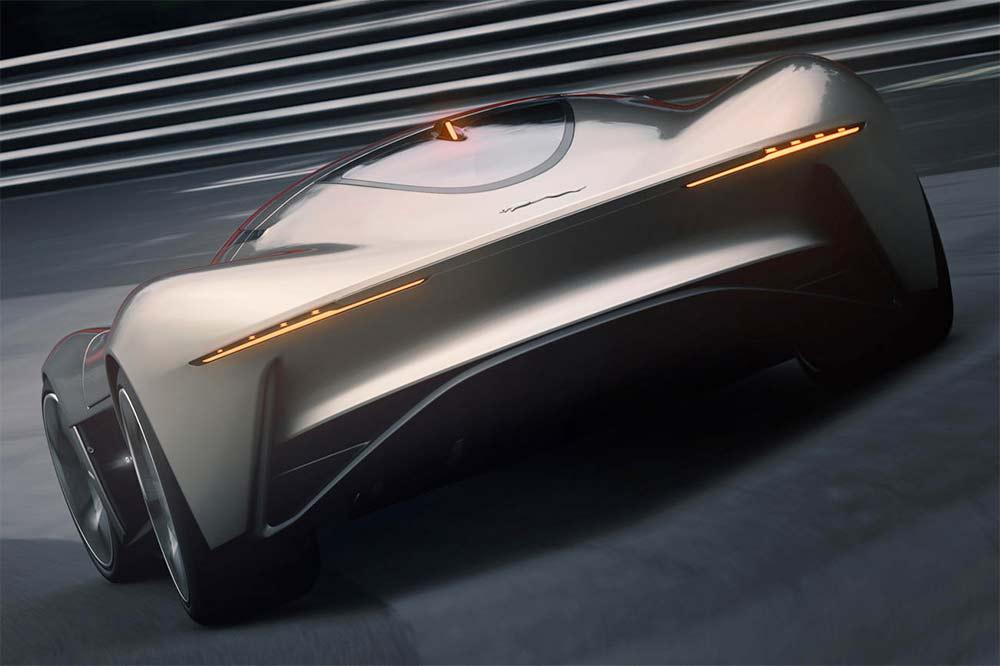 Virtueller Jaguar Vision Grand Turismo in der Heckansicht