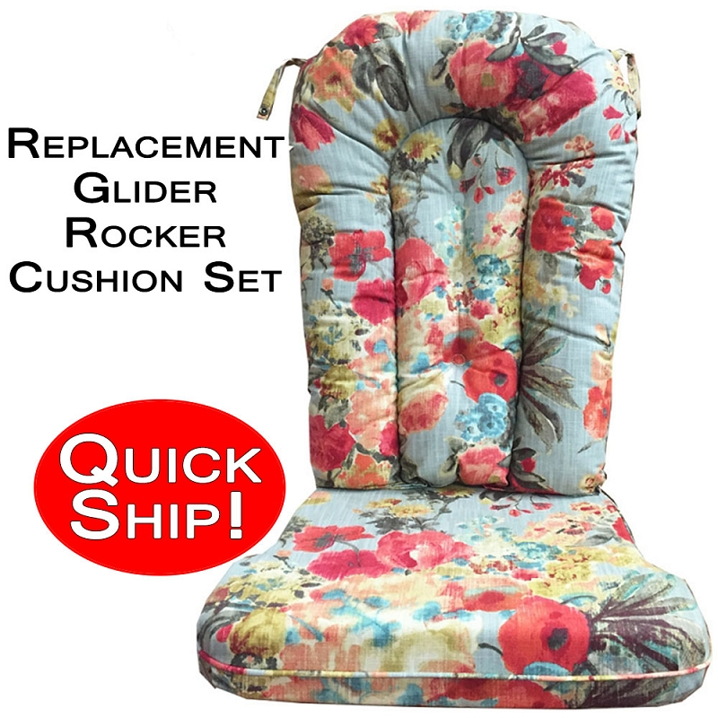Quick Ship Glider Rocker Cushion Set Mood Lifter Floral Print
