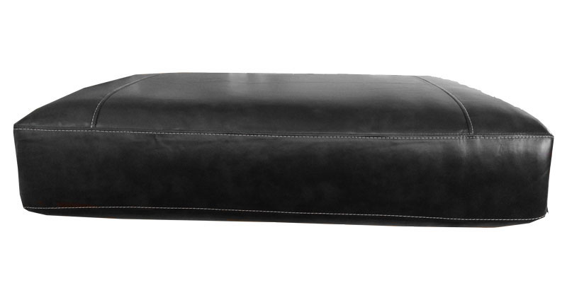 Rectangular Sofa Cushion Cover Bonded Leather In Black With White Detail Stitching Large Size