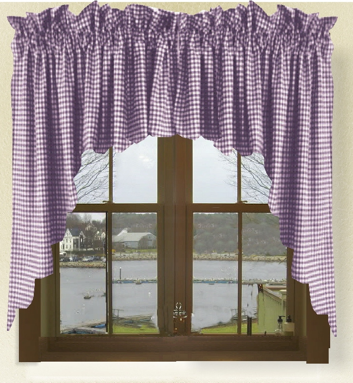 cushions for glider chairs discontinued pottery barn dining dark purple gingham check scalloped window swag valance set