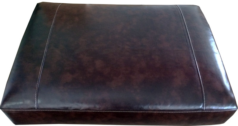 Rectangular Sofa Cushion Cover Bonded Leather in Black