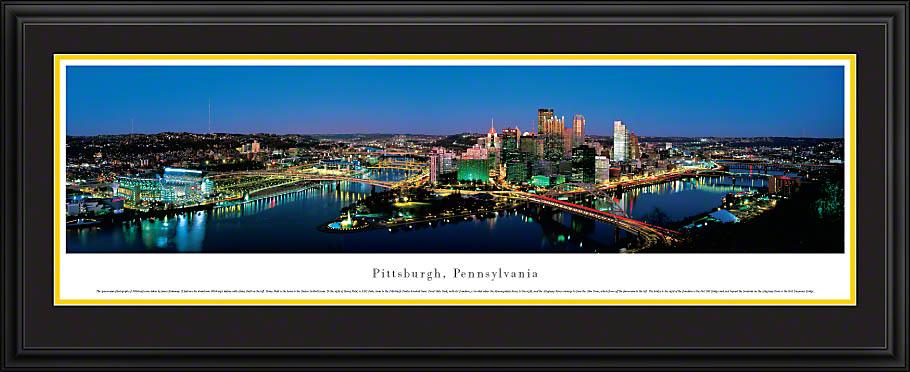 Pittsburgh Pennsylvania Deluxe Framed Skyline Picture 1