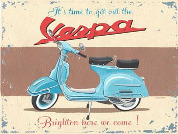 Vespa Scooter Vintage Metal Sign