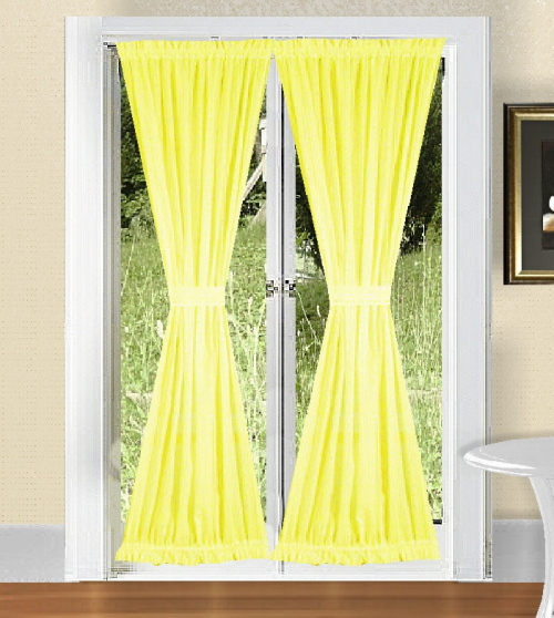 Bright Lemon Yellow French Door Curtains