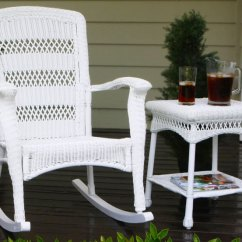 Rocking Chair Seat Replacement Barber Hydraulic Repair Plantation Coastal White Wicker Outdoor