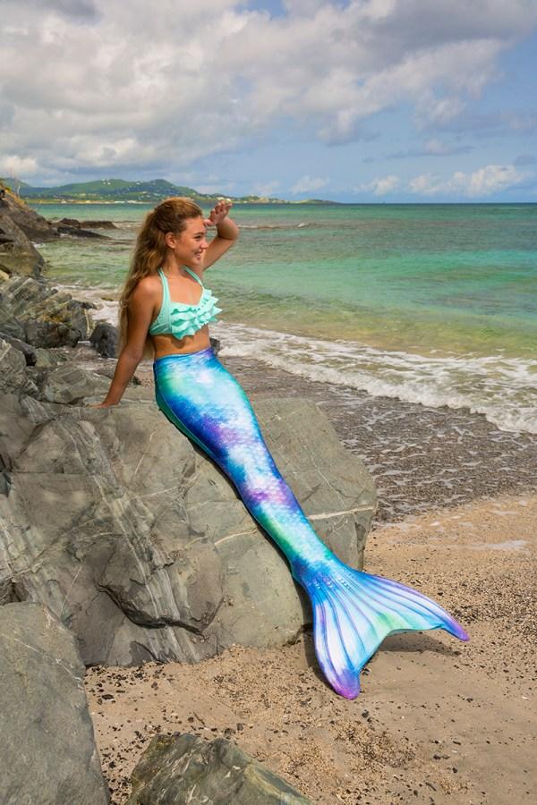 Watercolor Waves Mermaid Tail