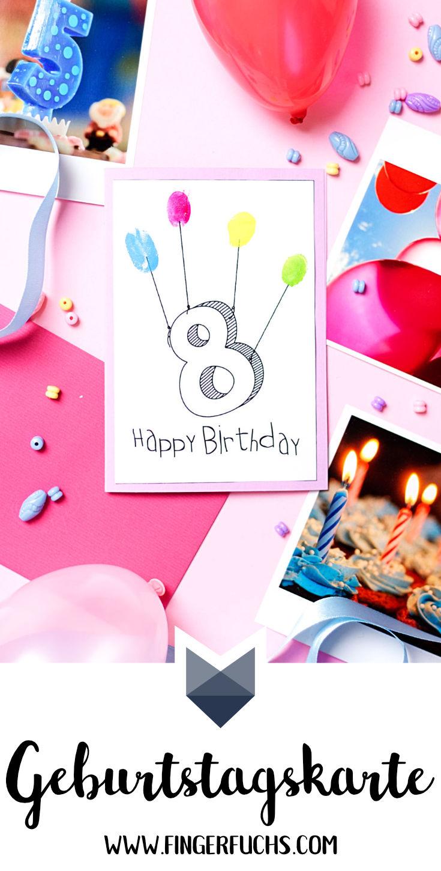 Geburtstagskarten Basteln Fur Jungs.Diy Fingerabdruck Geburtstagskarten Geburtstagskarte