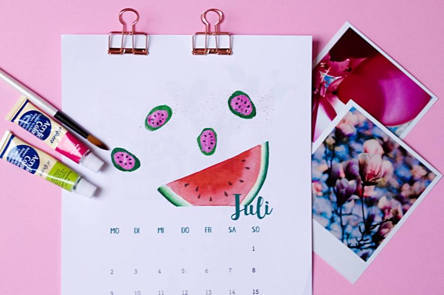 Juli - Kalender 2018 zum Fingerstempeln