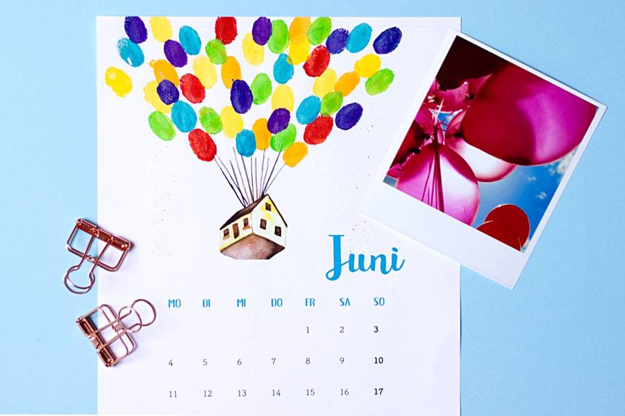 Juni - Kalender 2018 zum Fingerstempeln