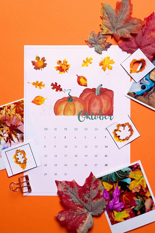 Oktober - Kalender 2018 zum Fingerstempeln