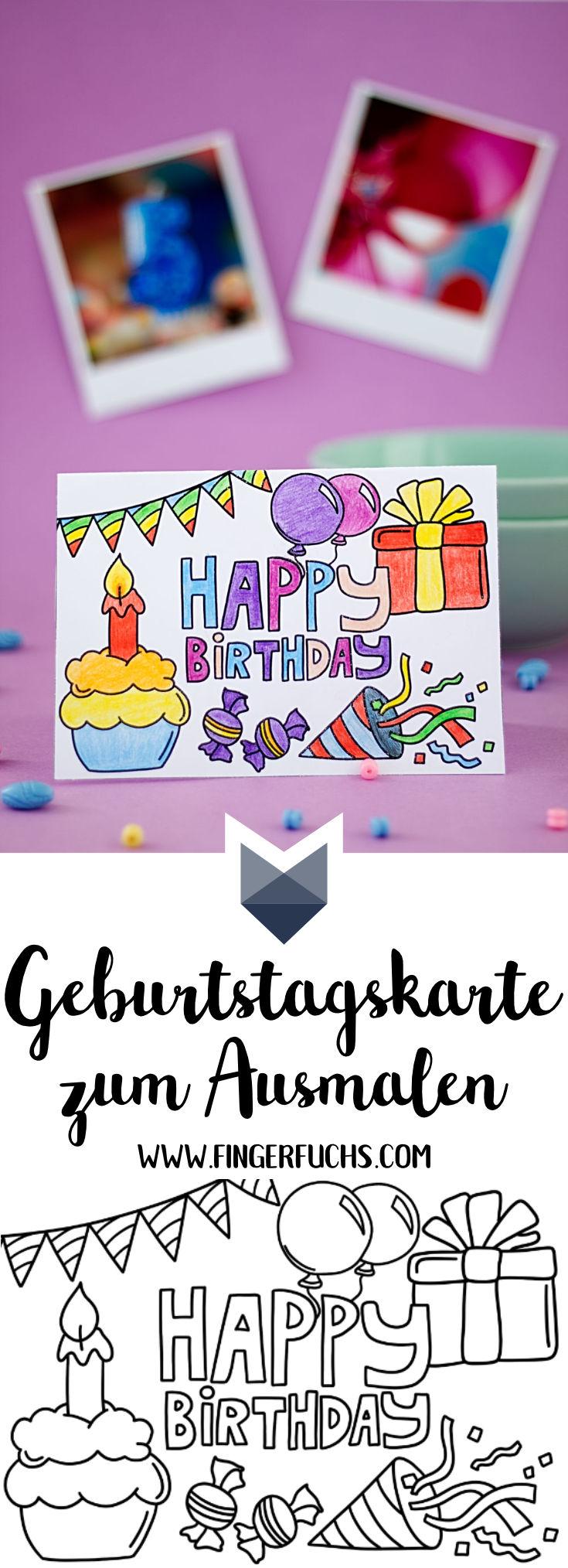 Geburtstagskarte zum Ausmalen Pinterest