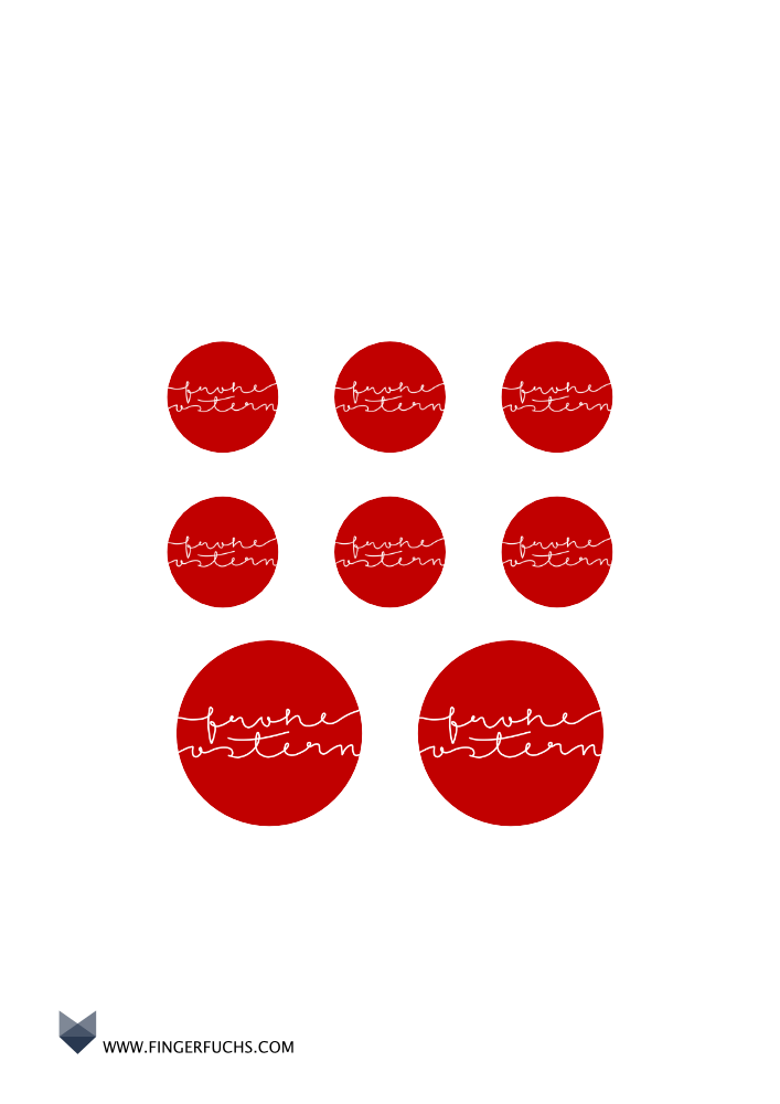 Frohe Ostern Sticker, rot, rund Basteln für Ostern