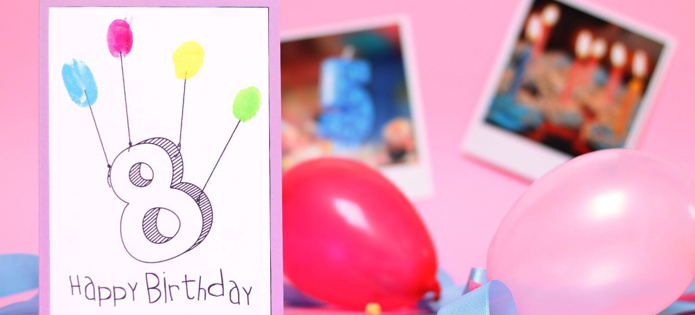 Diy Fingerabdruck Geburtstagskarten Geburtstagskarte Basteln Kinder
