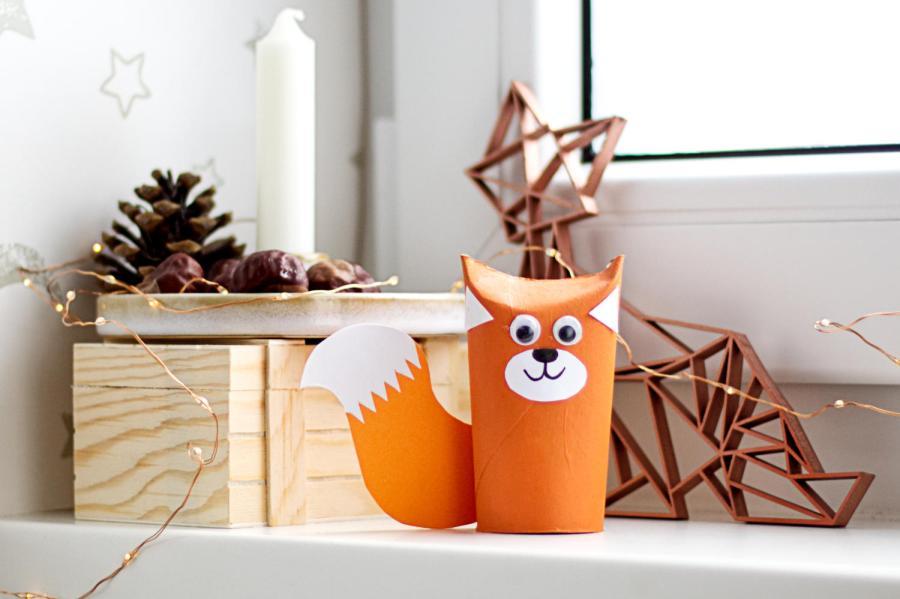 Fuchs aus Toilettenpapierrolle - Eichhörnchen bastelmn