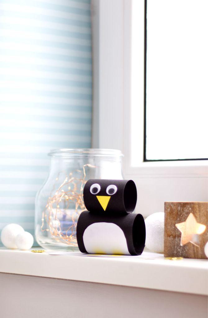 Pinguin hoch - Winter Bastelideen für Kinder