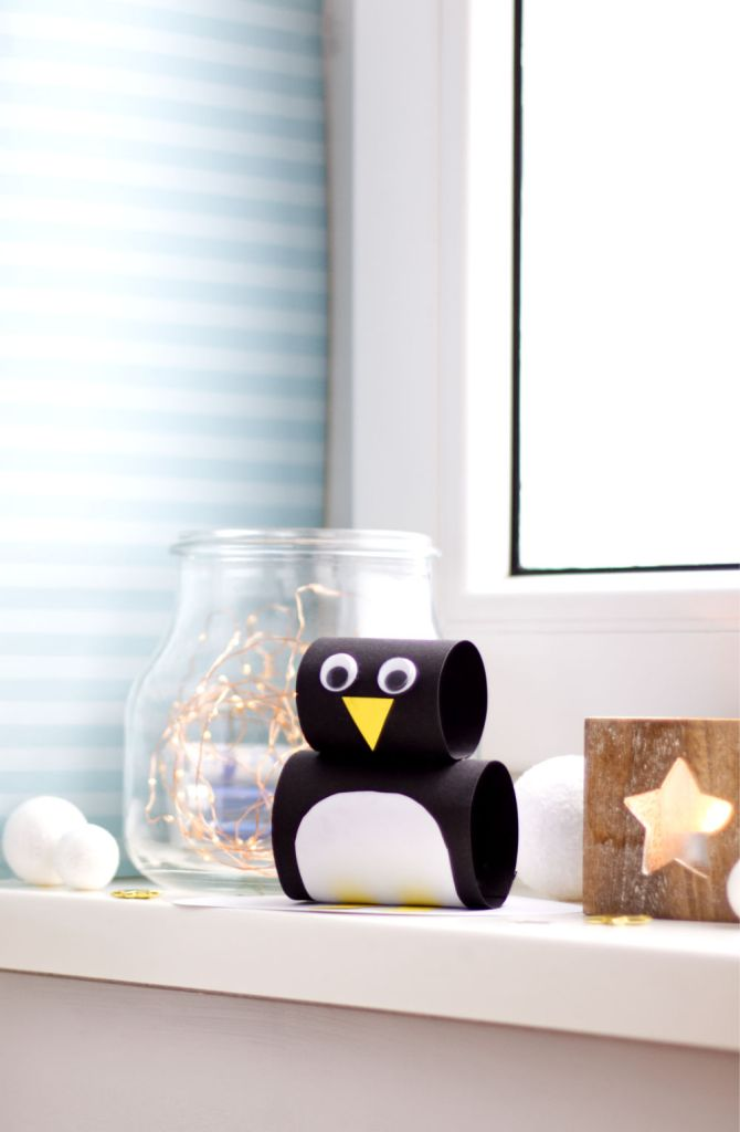 Pinguin hoch - Winter Bastelideen für Kinder