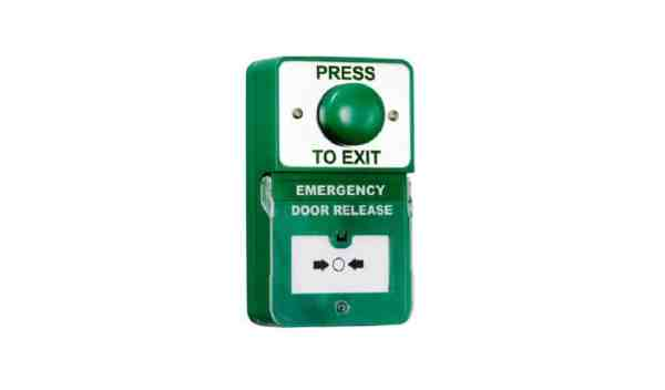 Dual Unit Green Domed Press to Exit Emergency Door Release Borer Fingerprint Access Control