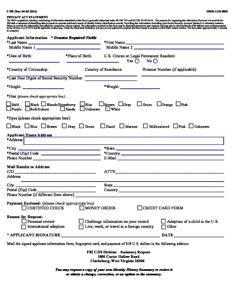 FBI PERSONAL REQUEST FORM | Fingerprinting Express - Livescan, Ink ...