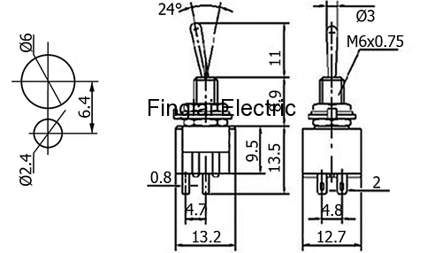 6mm MTS-2 series toggle switch with φ6 mm perforate dimensions