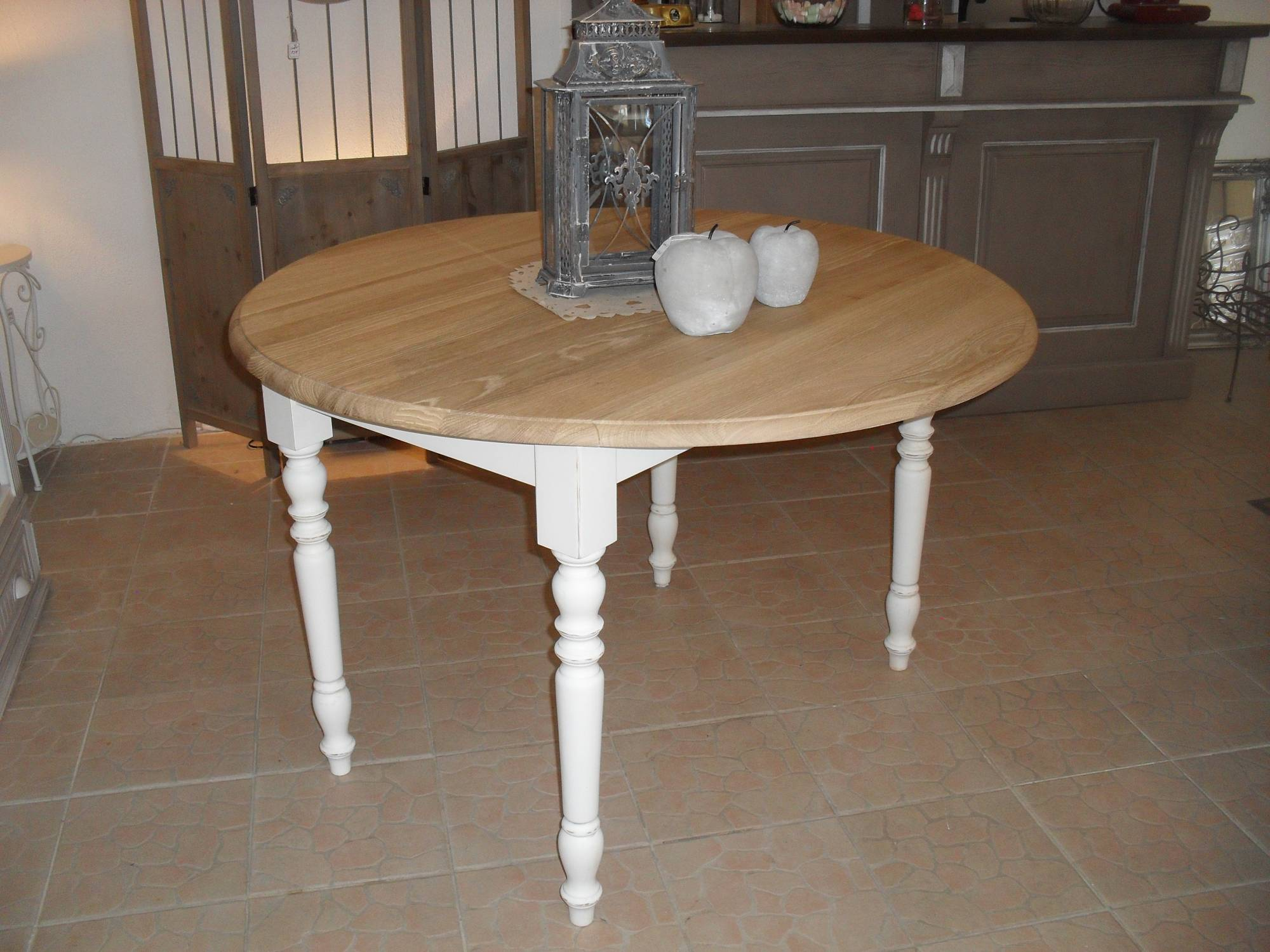 table ronde fixe a volets plateau chene