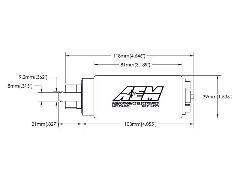 320lph High Flow In-Tank Fuel Pump (Offset Inlet, Inline