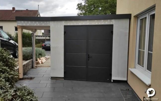 Fink Garage - Minigarage Vorderansicht mit Doppeltür in anthrazit