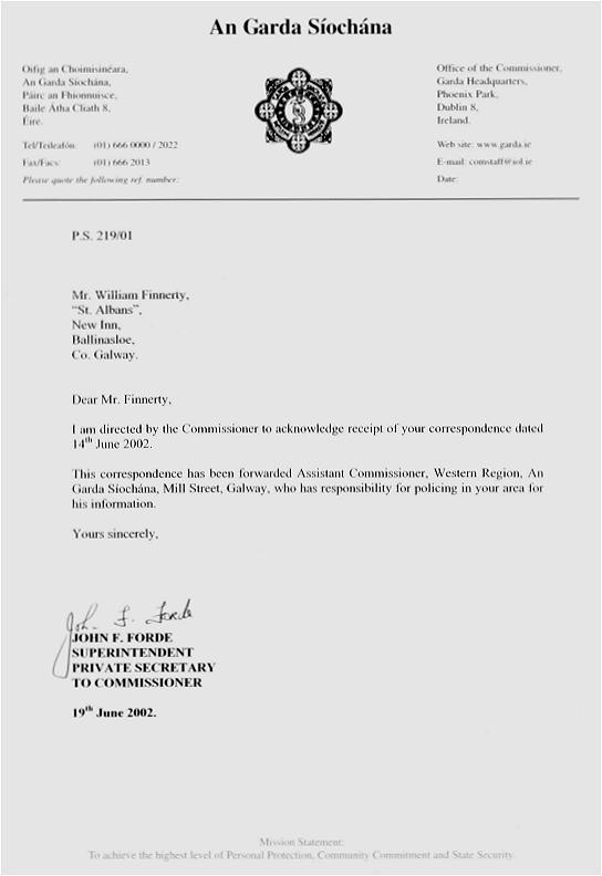 Letter dated June 19th from An Garda Siochana (Republic of