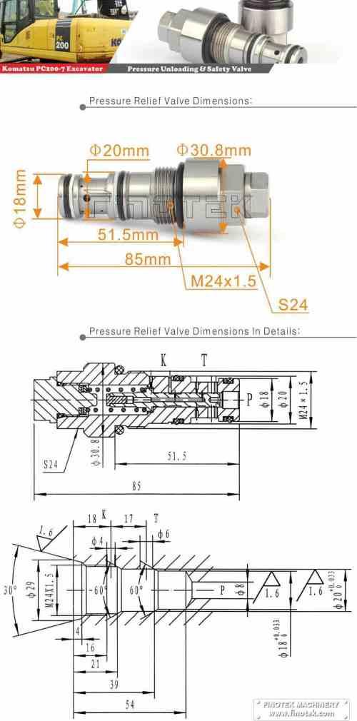 small resolution of komatsu pc200 7 8 excavator safety valve pressure safety valve
