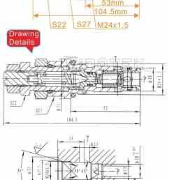 komatsu hydraulic control valve for excavator pc200 6s main valve dimensions  [ 950 x 1939 Pixel ]