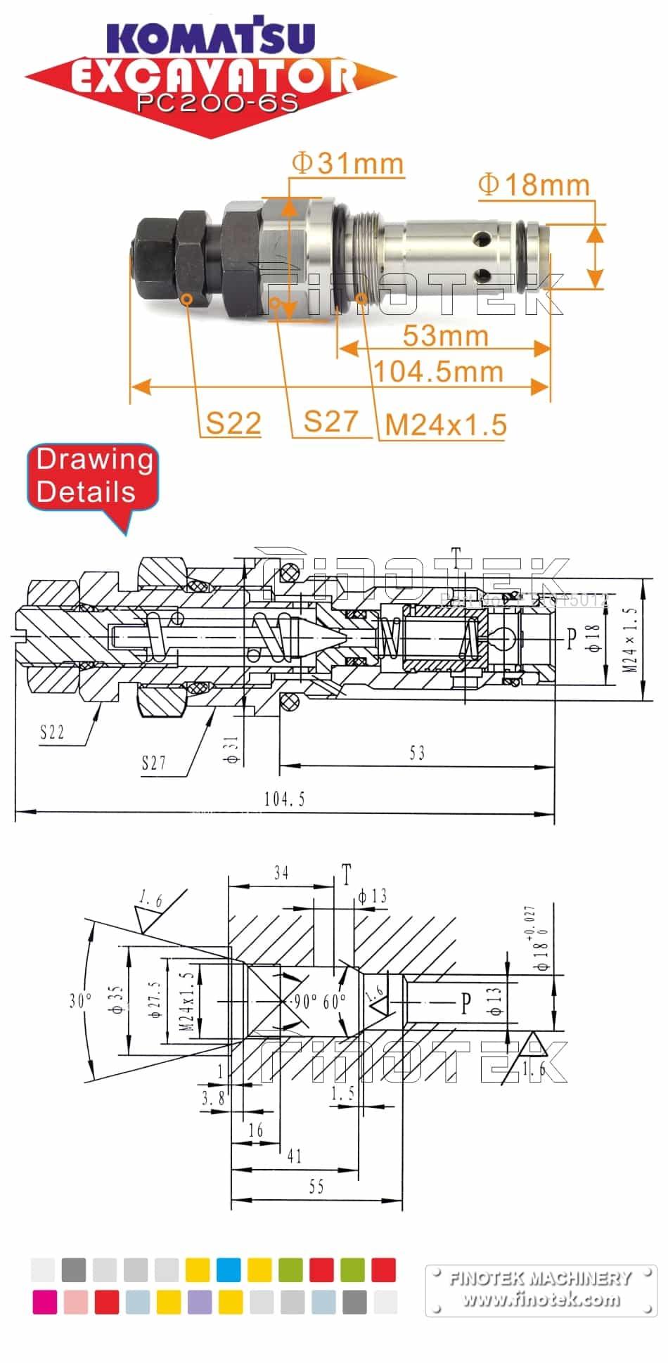 medium resolution of  komatsu hydraulic control valve for excavator pc200 6s main valve dimensions