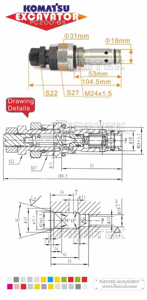 small resolution of  komatsu hydraulic control valve for excavator pc200 6s main valve dimensions